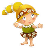 Cartoon ancient girl character isolated illustration for children Stock Images