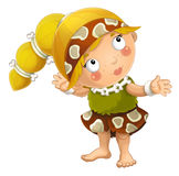 Cartoon ancient girl character isolated illustration for children Royalty Free Stock Images