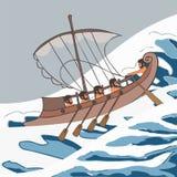 Cartoon ancient vessel at sea storm. Ancient vessel at sea storm ship, vector cartoon illustration of historic transportation vector illustration