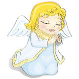 Cartoon angel. Cute cartoon little christmas angel is praying Royalty Free Stock Photos