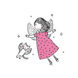 Cartoon angel and cat. Hand drawing isolated objects on white background. Vector illustration royalty free stock photo