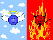 Cartoon of angel and devil Royalty Free Stock Image