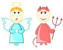 Cartoon angel and devil Stock Photography