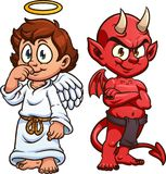 Cute cartoon angel and devil. Cartoon angel and devil. Vector clip art illustration with simple gradients. Each on a separate layer royalty free illustration