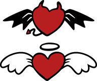 Cartoon angel and evil hearts Stock Photo