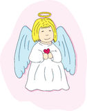Cartoon angel with a heart. Cartoon angel blond with heart on a pink background Stock Photo