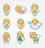 Cartoon Angel icon set Royalty Free Stock Photos