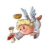 Cartoon angel messenger. Cartoon illustration of an angel messenger flying down with a letter in hands Stock Photo
