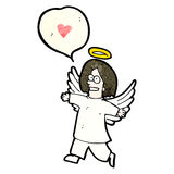 cartoon angel with speech bubble Royalty Free Stock Images