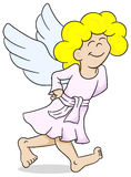 Cartoon angel is walking satisfied Royalty Free Stock Image