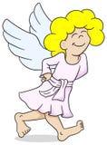 Cartoon angel is walking satisfied Royalty Free Stock Image