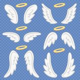 Cartoon angel wings. Holy angelic nimbus and angels wing. Flying winged angeles vector illustration set. Cartoon angel wings. Holy angelic nimbus and heavenly vector illustration