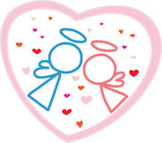 Cartoon angels couple. In love illustration stock illustration
