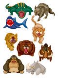 Cartoon angry animal icons. Illustration Royalty Free Stock Images
