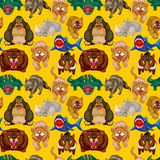 Cartoon angry animal seamless pattern Stock Photography