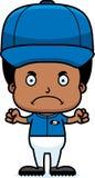 Cartoon Angry Baseball Player Boy Stock Photography