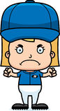 Cartoon Angry Baseball Player Girl Royalty Free Stock Images