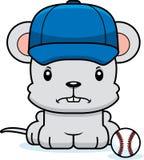 Cartoon Angry Baseball Player Mouse Stock Image