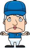 Cartoon Angry Baseball Player Woman Stock Photo