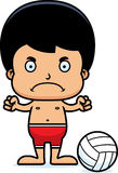 Cartoon Angry Beach Volleyball Player Boy Royalty Free Stock Images