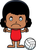 Cartoon Angry Beach Volleyball Player Girl Royalty Free Stock Images