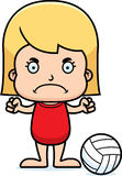Cartoon Angry Beach Volleyball Player Girl Royalty Free Stock Photo