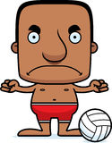 Cartoon Angry Beach Volleyball Player Man Stock Photo