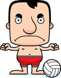 Cartoon Angry Beach Volleyball Player Man Royalty Free Stock Image