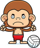Cartoon Angry Beach Volleyball Player Monkey Stock Images