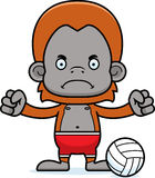 Cartoon Angry Beach Volleyball Player Orangutan Stock Image