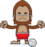 Cartoon Angry Beach Volleyball Player Sasquatch Stock Photo