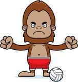 Cartoon Angry Beach Volleyball Player Sasquatch Stock Photo