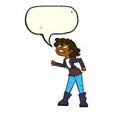 Cartoon angry biker girl with speech bubble Royalty Free Stock Images