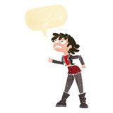 Cartoon angry biker girl with speech bubble Royalty Free Stock Image