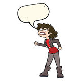 Cartoon angry biker girl with speech bubble Stock Image