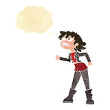 Cartoon angry biker girl with thought bubble Stock Images