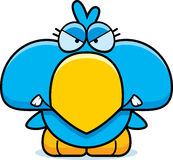 Cartoon Angry Blue Bird. A cartoon illustration of a little blue bird with an angry expression royalty free illustration