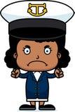 Cartoon Angry Boat Captain Girl Stock Photography