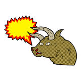 Cartoon angry bull head with speech bubble Stock Images