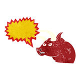 Cartoon angry bull head with speech bubble Royalty Free Stock Photography