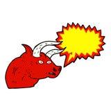 Cartoon angry bull head with speech bubble Royalty Free Stock Photos