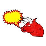Cartoon angry bull head with speech bubble Stock Photo