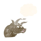Cartoon angry bull head with thought bubble Stock Images