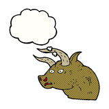 Cartoon angry bull head with thought bubble Stock Image