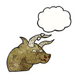 Cartoon angry bull head with thought bubble Royalty Free Stock Photo