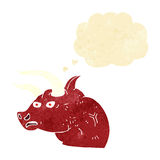 Cartoon angry bull head with thought bubble Royalty Free Stock Image