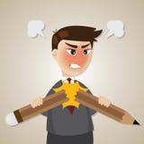 Cartoon angry businessman broken pencil Royalty Free Stock Photography