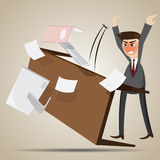 Cartoon angry businessman flipping table Stock Photography