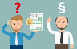Cartoon Angry Businessman Steuer Euro Accountant Paragraph. German text Steuer, translate Tax Royalty Free Stock Photos