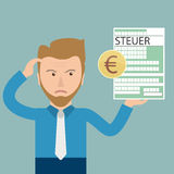 Cartoon Angry Businessman Steuer Euro. German text Steuer, translate Tax Royalty Free Stock Image